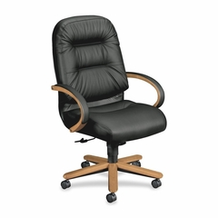 Exec High Back Chair - Harvest Cherry/Black Leather - HON2191CSR11