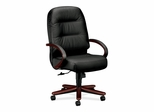 Exec High Back Chair - Mahogany/Black Leather - HON2191NSR11
