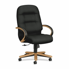 Exec High Back Chair - Mahohany/Black Leather - HON2191CNT10