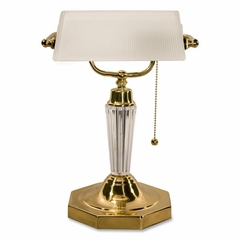 Executive Glass Bankers Lamp - Acrylic Finish - LEDL658FR