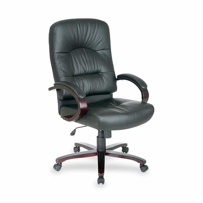 Executive High-Back Chair - Mahogany/Black Leather - LLR60338