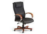 Executive Leather Chair with Wood Accents (Hi-Back) - OFM - 560-L