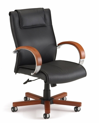 Executive Leather Chair with Wood Accents (Mid-Back) - OFM - 561-L