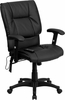 Executive Mid-Back Massaging Black Leather Executive Office Chair - BT-2770P-GG