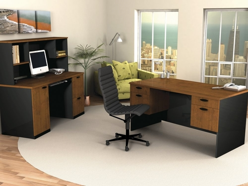 Executive Work Station and Credenza/Hutch Set in Tuscany Brown and Black - Hampton - Bestar Office Furniture - HAMP-SET-3