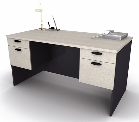 Executive Work Station in Sand Granite and Charcoal - Hampton - Bestar Office Furniture - 69400-86
