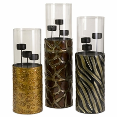 Exotic Votive Candle Holders with Glass Sleeve (Set of 3) - IMAX - 12897-3