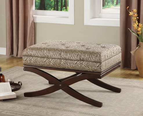 Fabric Bench with Wooden Base - Joya - 10073