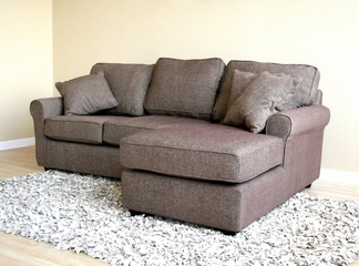 Fabric Sectional Sofa Set - 2 Piece with Sofa and Chaise in Brown - TD6832-MECUE-10-2PC