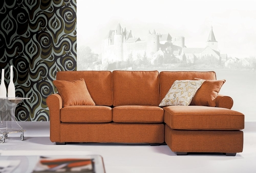 Fabric Sectional Sofa Set - 2 Piece with Sofa and Chaise in Orange - TD6832-MECUE-01