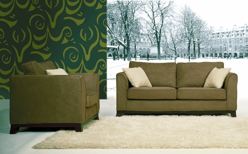 Fabric Sofa Set - 2 Piece with Sofa and Chair in Olive Green - TD3105-KF-01-2PC