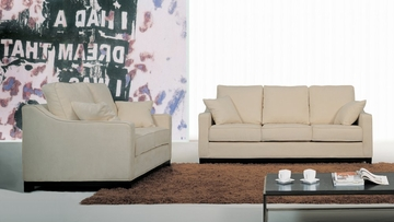 Fabric Sofa Set - 2 Piece with Sofa and Loveseat in Beige - TD6825-KF-3-2PC