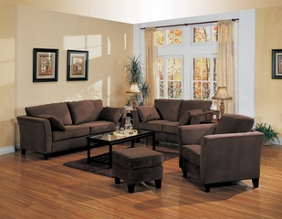Fabric Sofa Set - 4 Piece in Bella Velvet in Chocolate Fabric - Coaster