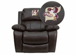 Fairmont State University Falcons Leather Rocker Recliner  - MEN-DA3439-91-BRN-41029-EMB-GG