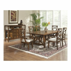 Fairwinds Rectangular 8 Piece Dining Set with X-Back Chairs - Largo - LARGO-WG-D2239-XBACK-SET