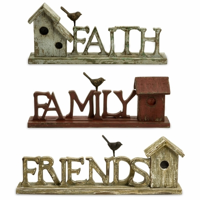 Family, Friends, and Faith Birdhouses (Set of 3) - IMAX - 27270-3