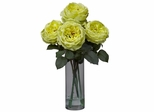 Fancy Rose with Cylinder Vase Silk Flower Arrangement - Nearly Natural - 1247-YL