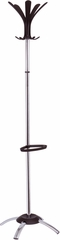 Fashionable ALBA Chrome Floor Coat Stand with Black Coat Pegs