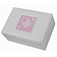 Faux Leather Baby Memories Keepsake Box in Eggshell - Tessa - Jewelry Boxes by Mele - 0020150