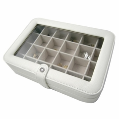 Faux Leather Crystal Jewelry Box with 24 Sections in Ivory - Elaine - Jewelry Boxes by Mele - 0055030M
