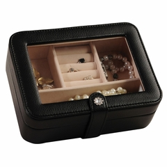 Faux Leather Glass Top Jewelry Box in Black - Rio - Jewelry Boxes by Mele - 0055362M