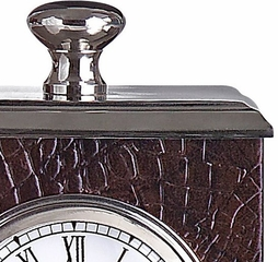 Faux Leather/Nickel Clock - IMAX - 7860