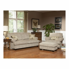 Fireside Jute Upholstered Sofa, Chair and Ottoman 3 Pc Set - Largo - LARGO-WG-F1227-3PC-SET