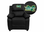 Fitchburg State University Falcons Black Leather Kids Recliner - BT-7985-KID-BK-LEA-41031-EMB-GG