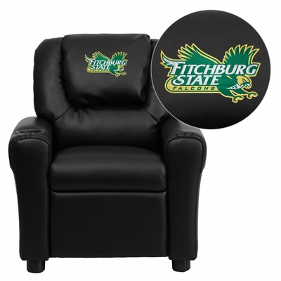 Fitchburg State University Falcons Black Vinyl Kids Recliner - DG-ULT-KID-BK-41031-EMB-GG