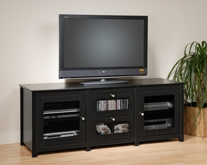 Flat Panel LCD / Plasma TV Console with 2 Glass Drawers / Doors in Black - Santino - Prepac Furniture - BAS-6310