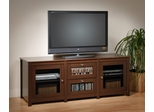 Flat Panel LCD / Plasma TV Console with 2 Glass Drawers / Doors in Espresso - Santino - Prepac Furniture - EAS-6310