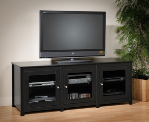 Flat Panel LCD / Plasma TV Console with 3 Glass Doors in Black - Santino - Prepac Furniture - BAH-6300