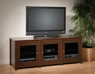 Flat Panel LCD / Plasma TV Console with 3 Glass Doors in Espresso - Santino - Prepac Furniture - EAH-6300