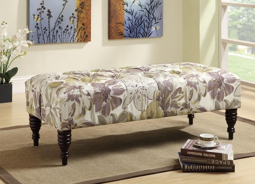 Floral Accent Bench with Turned Legs - 501077