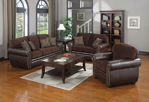 Florence 3PC Chenille Fabric/Vinyl Sofa Set - 504041