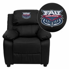 Florida Atlantic University Owls Black Leather Kids Recliner - BT-7985-KID-BK-LEA-41032-EMB-GG