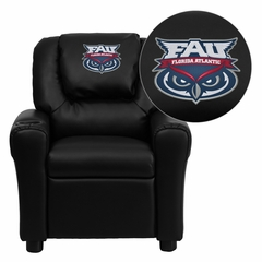 Florida Atlantic University Owls Black Vinyl Kids Recliner - DG-ULT-KID-BK-41032-EMB-GG