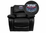Florida Atlantic University Owls Embroidered Black Leather Rocker Recliner  - MEN-DA3439-91-BK-41032-EMB-GG