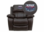 Florida Atlantic University Owls Embroidered Brown Leather Rocker Recliner  - MEN-DA3439-91-BRN-41032-EMB-GG