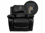 Florida International University Golden Panthers Embroidered Black Leather Rocker Recliner  - MEN-DA3439-91-BK-41033-EMB-GG