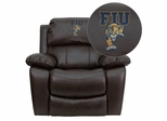 Florida International University Golden Panthers Leather Rocker Recliner - MEN-DA3439-91-BRN-41033-EMB-GG