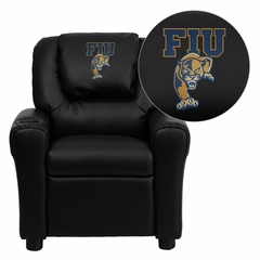 Florida International University Golden Panthers Vinyl Kids Recliner - DG-ULT-KID-BK-41033-EMB-GG