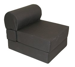 "Foam Furniture Adult Studio Chair Sleeper Jr. Twin 28"" Poly Cotton in Black - 32-2120-601"