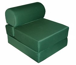"Foam Furniture Adult Studio Chair Sleeper Jr. Twin 28"" Poly Cotton in Hunter Green - 32-2120-602"