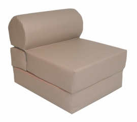 "Foam Furniture Adult Studio Chair Sleeper Jr. Twin 28"" Vinyl in Cobblestone - 32-2120-326"