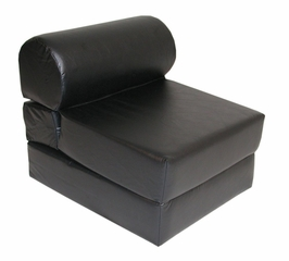 "Foam Furniture Adult Studio Chair Sleeper Jr. Twin 28"" Vinyl in Ebony - 32-2120-301"