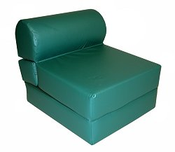 "Foam Furniture Adult Studio Chair Sleeper Jr. Twin 28"" Vinyl in Emerald Green - 32-2120-320"