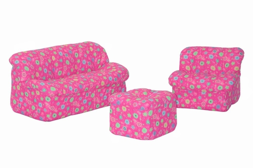 Foam Furniture Kids 3-Piece Sofa Set in Pink Flower - Mini Mushroom - 32-4503-824
