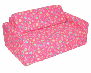 "Foam Furniture Kids Sofa Sleeper Twin 38"" in Pink Flower - 32-4200-824"