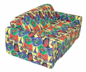 "Foam Furniture Kids Sofa Sleeper Twin 38"" in Race Cars - 32-4200-822"